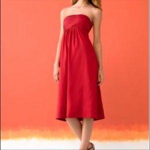 2X$15 Banana Republic strapless red silk dress